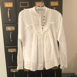 ALL SAINTS White Linen top with pockets Size 6